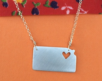 sterling silver kansas state necklace with heart on sterling silver chain