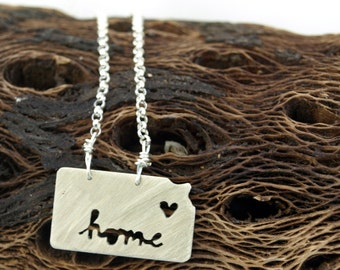 sterling silver Kansas state necklace- on 16 or 18 inch sterling chain- custom made- home cutout