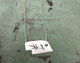 sterling silver Nebraska state necklace- on 16 or 18 inch sterling chain- custom made-with wheat