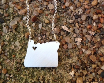 silver Oregon state necklace- on 16 or 18 inch sterling chain- custom made