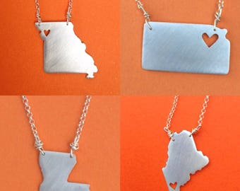 sterling silver state sweetheart necklace with heart on sterling silver chain.