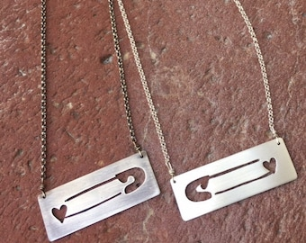 Safety Pin-- speaking out against hate--wear your heart--love wins--Sterling Silver Necklace