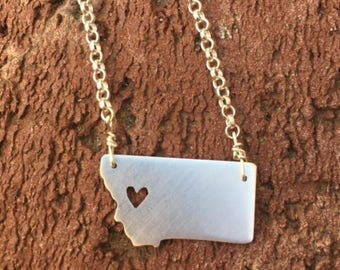 Montana sterling silver MT state necklace- on 16 or 18 inch sterling chain- custom made