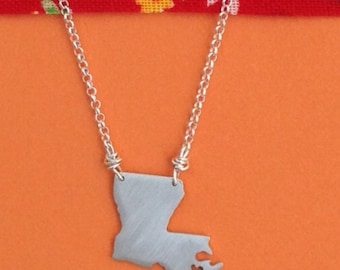 Louisiana sterling silver LA state necklace- on 16 or 18 inch sterling chain- custom made