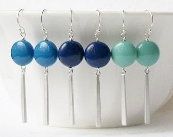 Green Pearl Dangle Earrings, Blue Pearl Dangle Earrings