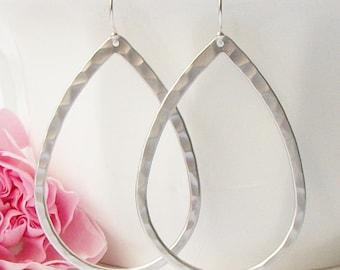 Silver Hammered Hoop Earrings, Hoop Earrings, Medium Silver Hoop Earrings , valentines jewelry gift under 20, galentines jewelry