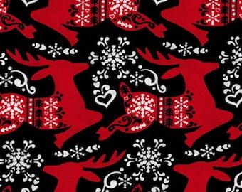 "Scandanavian Black Red Reindeer Christmas Holiday Print Fabric 15"""