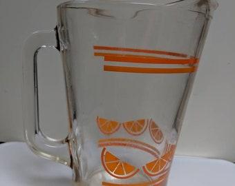 Crisa Mexico Orange Juice Jug Pitcher 1970s Vintage 55oz