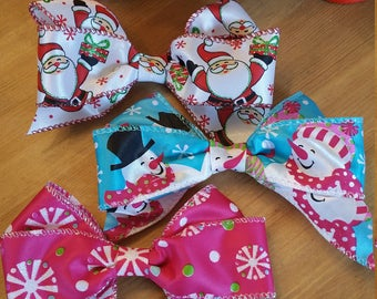 "Bo-Bo Boutique Christmas Winter Snowman Santa Candy Pink Blue Red 5"" Large Hair Bows Big Bow Stocking Stuffer Party Girls Hair Clip Set of 3"