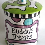 Bone on Bones Custom Ceramic Treat  Jar for dogs whimsical personalized choice of colors small medium large XL