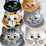 """Small 4"""" cat dish handmade pottery by artzfolk gift cat bowl cat lover calico black white gray tabby cat face by Artzfolk"""