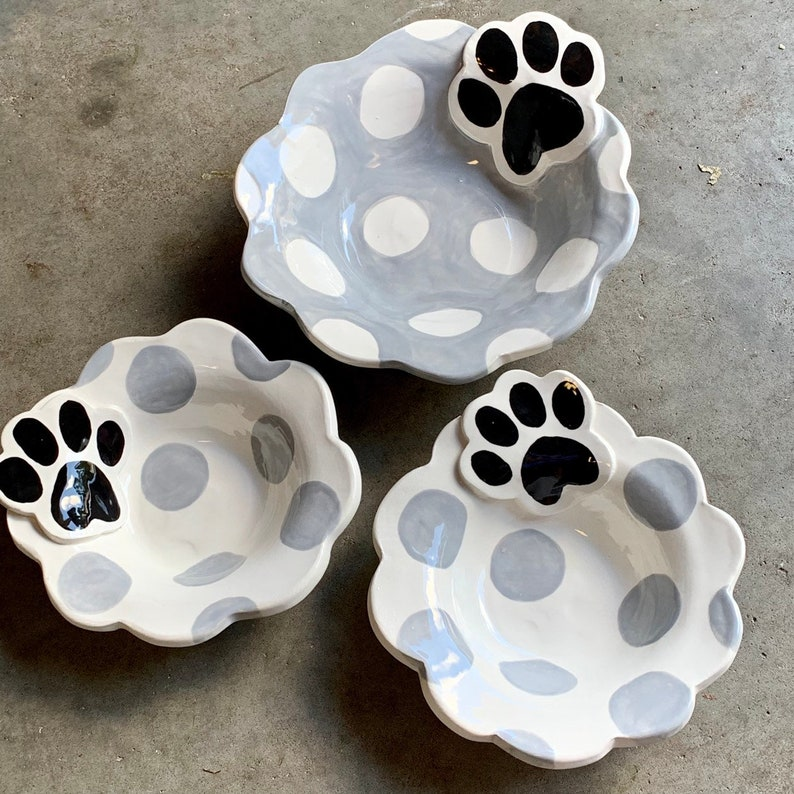 Set of 3 polka dot and paw handmade pottery dog or cat bowls 2 small 1 medium personalized custom pet dishes by artzfolk