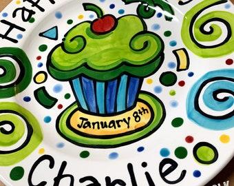"10"" or 7"" Happy Birthday cupcake celebration party personalized Plate custom ceramic by Artzfolk"