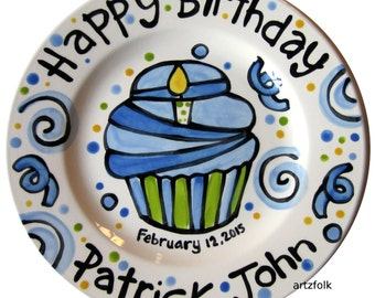 """7"""" or 10"""" KILN FIRED Happy Birthday cheer candle blue cupcake personalized Plate custom ceramic by Artzfolk"""