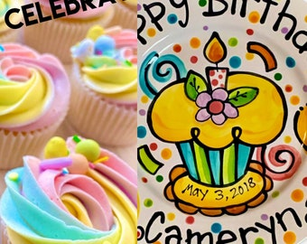 """Personalized Birthday Plate confetti party swirls and flower candle cupcake and balloons handmade by Artzfolk 7"""" or 10"""" favorites"""