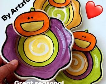 Cute orange pumpkin wavy rim handmade pottery bowl by artzfolk
