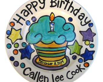 """CUSTOM handmade name birth date ceramic cupcake  7"""" or 10"""" Birthday Cake Plate Personalized great for TWINS"""