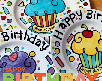 Handmade Artzfolk Custom Happy Birthday cherry cupcake personalized name Plate , sprinkles