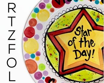 "Custom size 7"" or 10"" birthday Special Today Plate Personalized ceramic rainbow dish by Artzfolk"