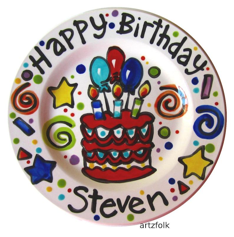 10 Or 7 CUSTOM Ceramic Birthday Cake Plate