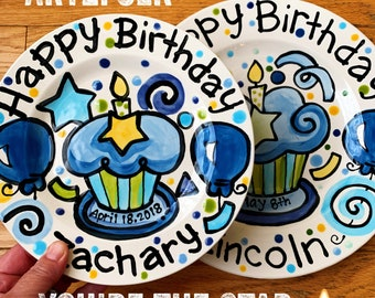 Personalized Birthday Plate confetti party super star special day handmade by Artzfolk