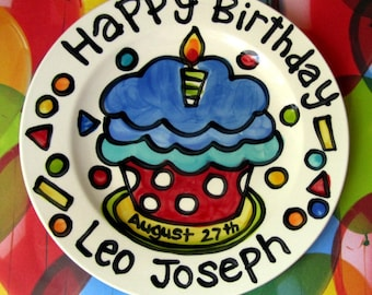 "Happy Birthday polka dot  cupcake personalized Plate custom ceramic plate 10"" or 7"""
