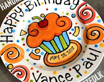 """Personalized Happy Birthday Plate gift confetti party swirls and cupcake handmade by Artzfolk 10"""" or 7"""""""