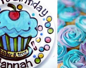 """7"""" or 10"""" KILN FIRED Happy Birthday cherry cupcake personalized Plate custom ceramic turquoise by Artzfolk"""