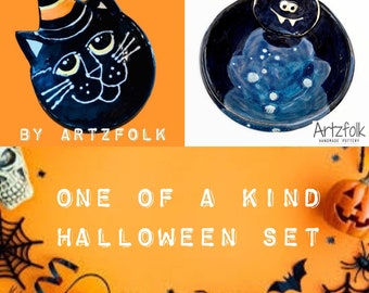 Small witch kitty and bat cat bowl set handmade pottery dish one of a kind