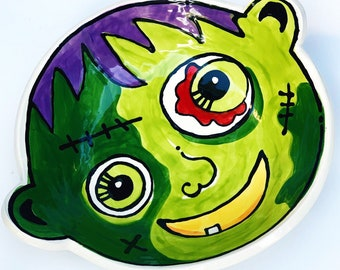 Medium handmade pottery original art zombie candy dish for Halloween by Artzfolk