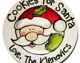 Classic Handmade Cookies For Santa ceramic christmas plate personalized by Artzfolk