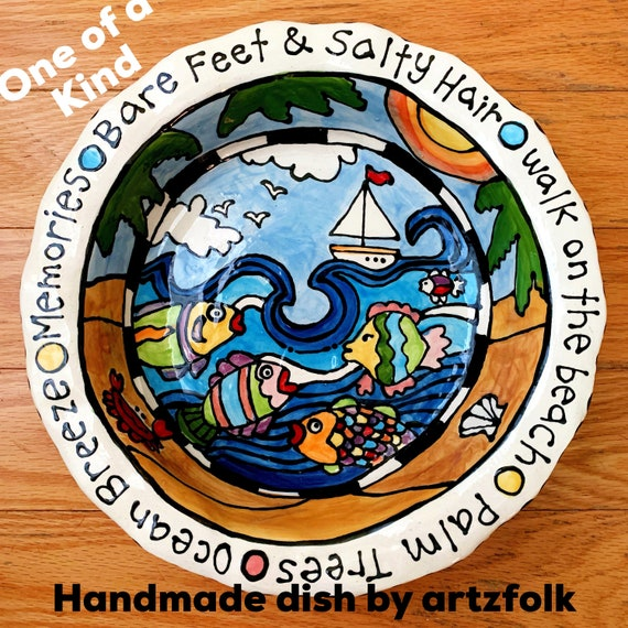 Beach theme one of a kind pottery serving dish original painting sailboat fish ocean by Artzfolk