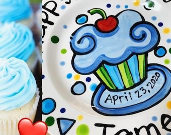 "KILN FIRED Happy Birthday cherry cupcake personalized name Plate custom ceramic 7"" By artzfolk Best Seller"