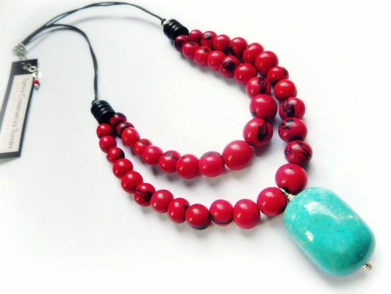 Acai & Turquoise Necklace /  Amazon Red image 0