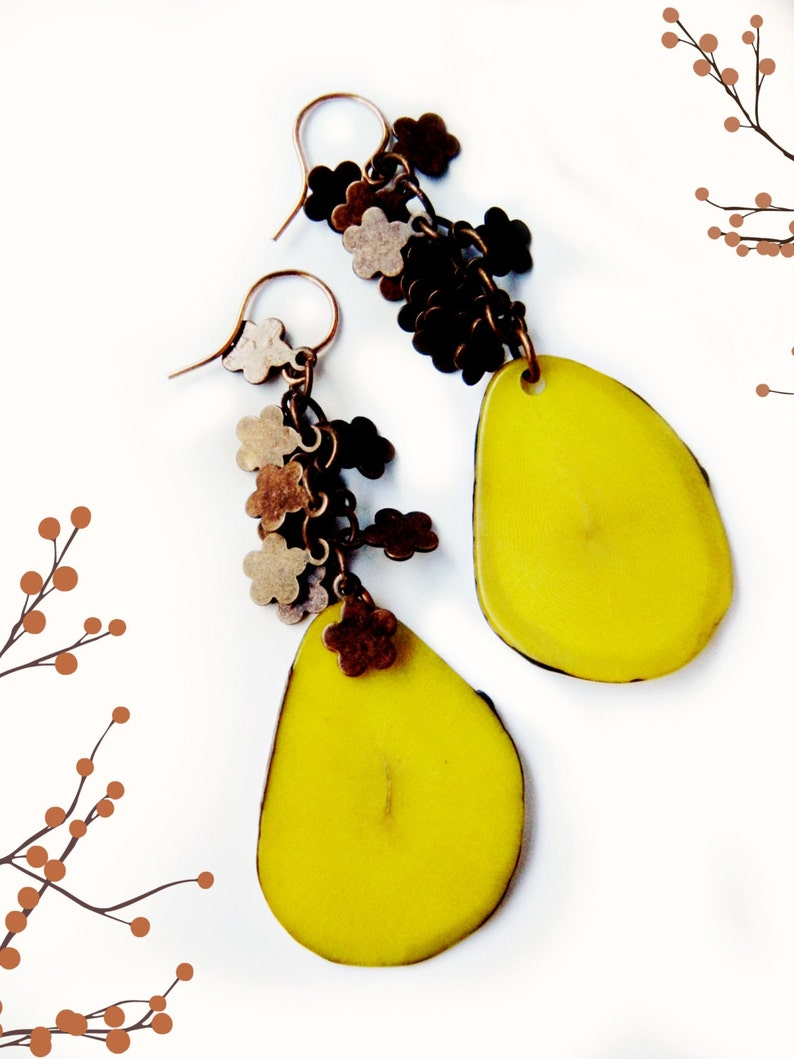 Tagua Slice Earrings & Copper Flowers /  Platano Yellow image 0