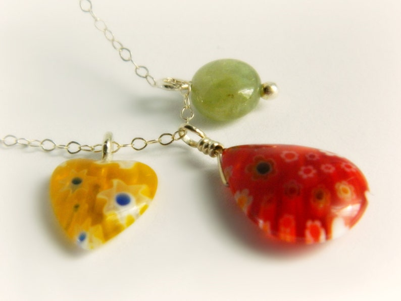 Millefiori Sterling Silver Charm Necklace  Citrus Colors image 0