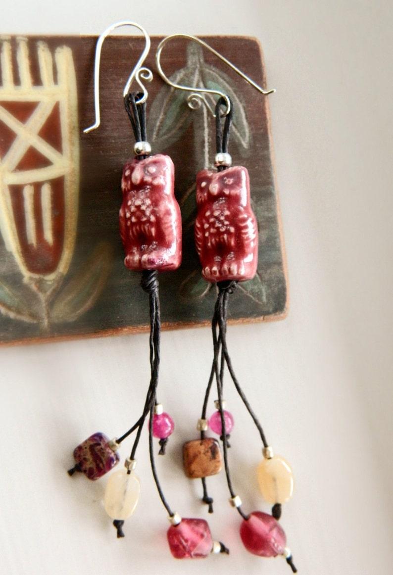 Andean Owl Earrings  Mixed Stones & Hemp / Rose Pink image 0