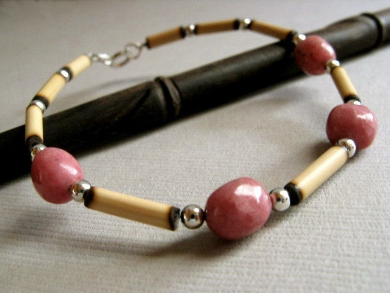 Andean Pink Bracelet  Rhodonite Wood and Sterling Silver image 0