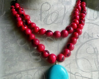 Acai & Turquoise Necklace /  Berry Red