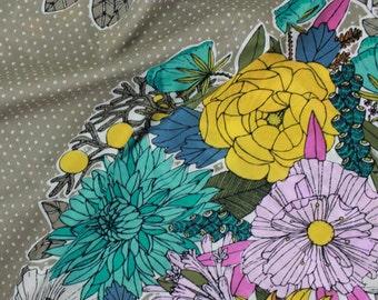 Organic Cotton Voile, Cloud9 ,Garden Secrets, Bouqet, Khaki, by the half-yard