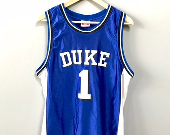 53a50733ae5 Vintage Duke University Basketball NCAA Jersey Size Large 14-16 Blue Devils  Made in USA Mint 1990s IZAW Brand