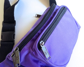 Purple Nylon Fanny Pack Bumbag 3 Compartments