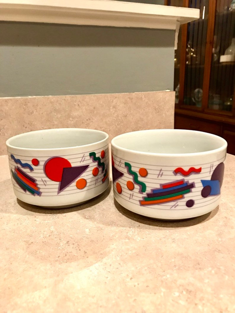 Vintage Betallic Colorblock Bowl Set of Two 1990s Cereal Bowls Full House Made in USA Porcelain Ceramic Ice Cream