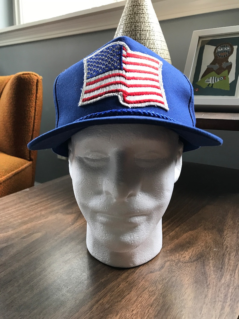 aacd99e21e5544 American Flag Snapback Adjustable Vintage Hat Cap USA Old | Etsy