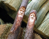 Carved Hearth and Home Broom Set In All Natural Broom Corn - Tree Spirit Carving - Old Man Face - Kitchen Broom Hearth Broom - Hand Carved