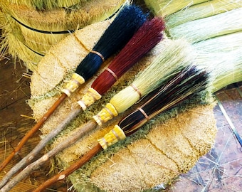 Small Witch's Broom Besom  in your choice of Natural, Black, Rust or Mixed Broomcorn