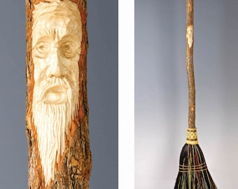Kitchen Broom with Tree Spirit Wizard Carving in your choice of Natural, Black, Rust or Mixed Broomcorn - Fully Functional Art