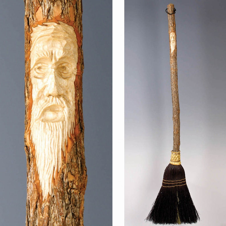 Black Hand Carved Kitchen Broom Sweeper in your choice of Natural with Tree Spirit Wizard Carving Old Man Face Rust or Mixed Broomcorn