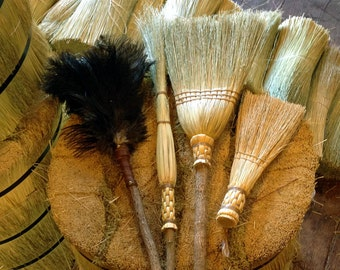 Spring Cleaning Broom & Duster Set in all Natural Broomcorn - Kitchen Broom, Cobweb Besom, Whisk and Feather Duster - Gift Set