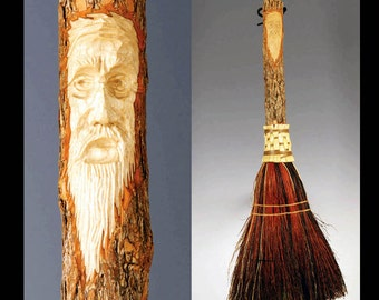 Hand Carved Fireplace Hearth Broom in choice of Natural, Black, Rust or Mixed Broomcorn  Tree Spirit / Wizard Carving / Housewarming Gift